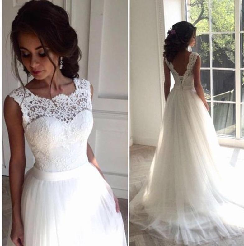 Svadobné šaty - EU 38/40 - skladom - Obrázok č. 2