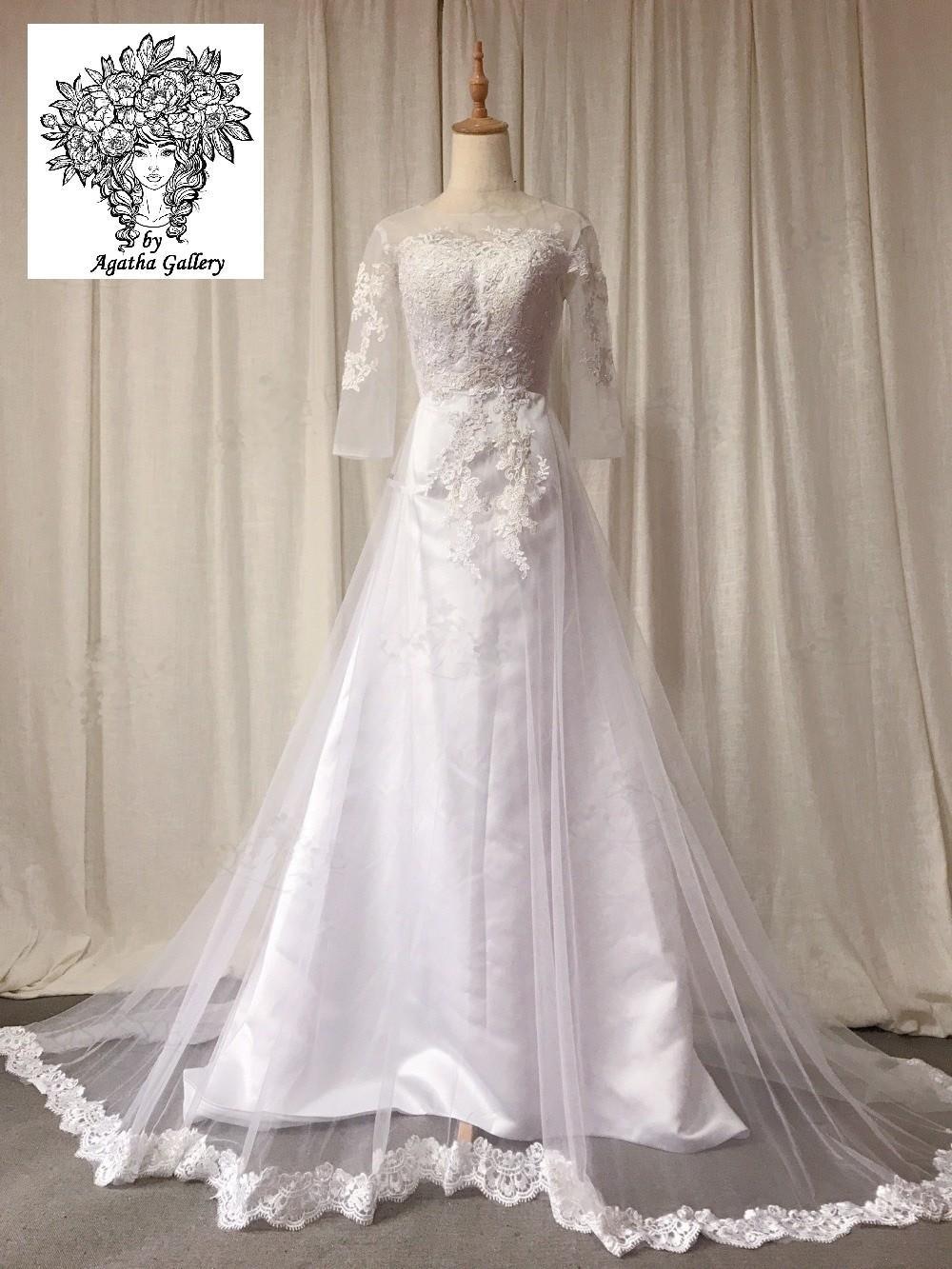 Svadobné šaty skladom - EU 34/36 - Obrázok č. 1