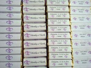 naše čokoládové darčeky pre hostí :) mňaaaam :)