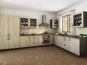 kuchyni v tomto stylu, ale jiné obložení a pracovní deska :)