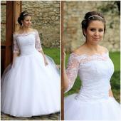 Svatební šaty bílé s krajkovým bolérkem MV1, 36