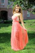 Dlouhé společenské plesové šaty korálové, 36