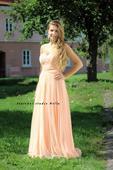 Dlouhé společenské plesové šaty lososové, 38