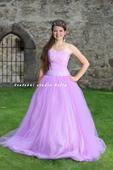 Plesové šaty fialové světlé - půjčovné, 34