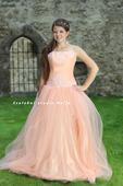Plesové šaty meruňkové - půjčovné, 34