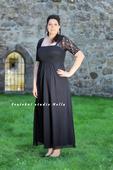 Půjčíme dlouhé společenské šaty černé s rukávy, 46