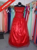 Výprodej - Plesové šaty pro boubelky červené flitr, 48