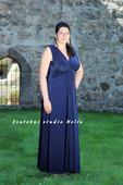 Plesové šaty modré pro plnoštíhlé - půjčovna, 48