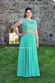Plesové šaty zelené pro plnoštíhlé - půjčovna, 48