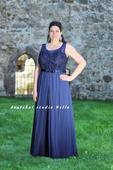 Plesové šaty modré pro plnoštíhlé - půjčovna, 46