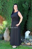 Dlouhé společenské šaty pro plnoštíhlé černé, 44