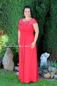 Dlouhé společenské šaty pro plnoštíhlé červené, 44