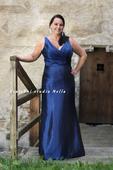 Dlouhé společenské plesové šaty modré, 42