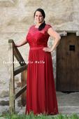 Dlouhé společenské šaty pro plnoštíhlé bordó, 44