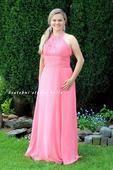 Dlouhé společenské plesové šaty lososové, 40