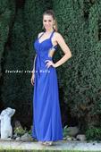 Výprodej - dlouhé společenské plesové šaty modré, 38