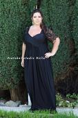 Dlouhé společenské plesové šaty černé vel.52, 52