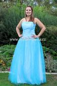 Tyrkysové dlouhé plesové šaty, 40