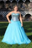 Tyrkysové dlouhé plesové šaty, 44