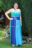 Tyrkysové dlouhé společenské šaty vel.46, 46