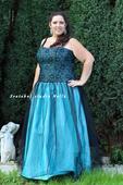 Tyrkysové dlouhé plesové šaty vel.48-50-52, 50