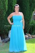 Výprodej - tyrkysové dlouhé společenské šaty , 44