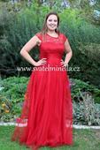 Plesové šaty červené - velikost 42, 42