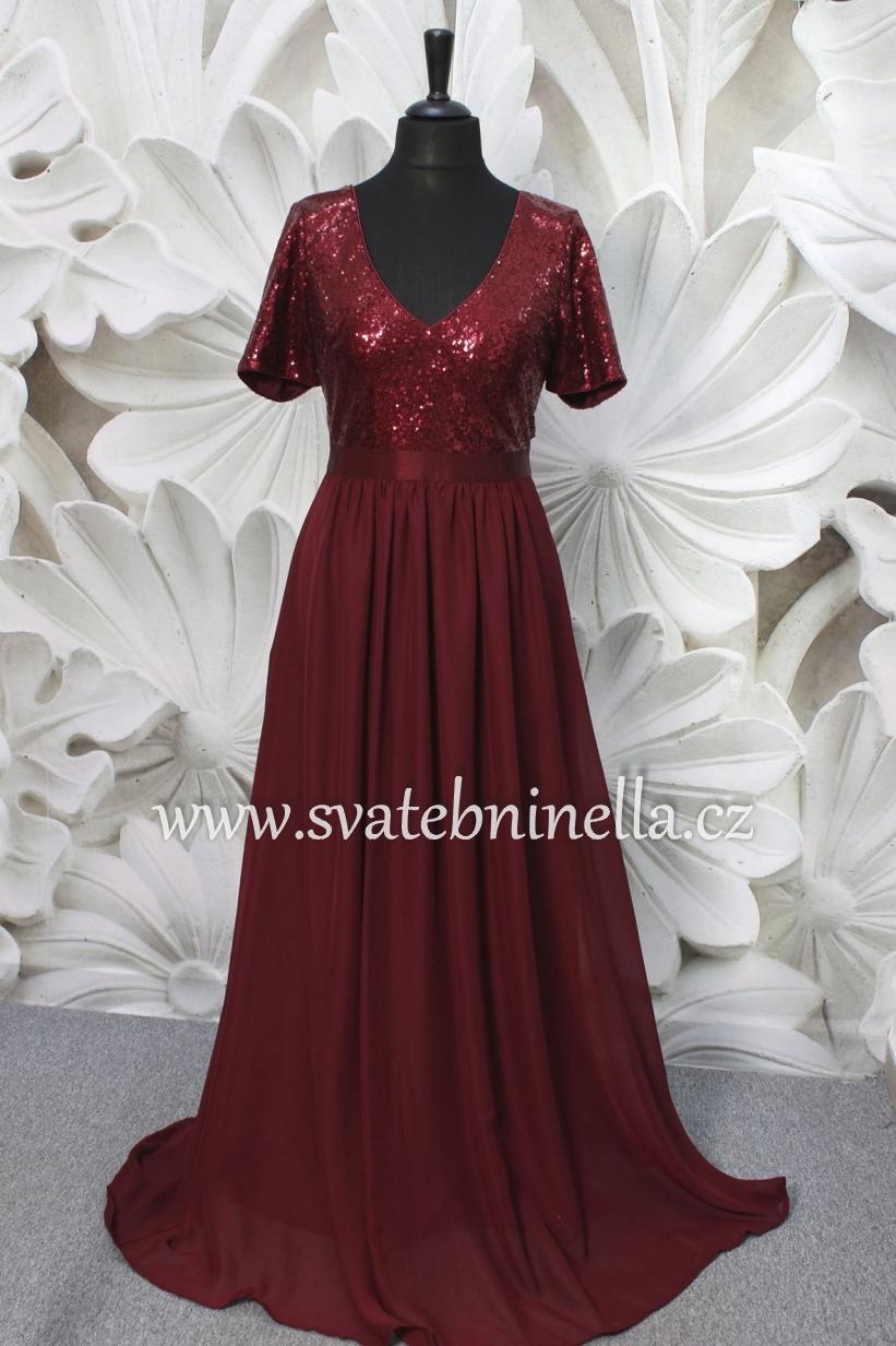 Dlouhé společenské šaty pro plnoštíhlé bordó - Obrázek č. 1