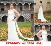 Výprodej - svatební šaty s vlečkou, 34
