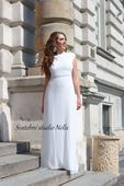 Jednoduché svatební šaty ke krku, 38