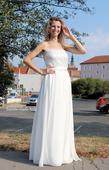 Empírové svatební šaty s perličkovým korzetem, 36