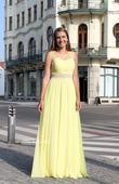 Dlouhé společenské plesové šaty žluté, 36