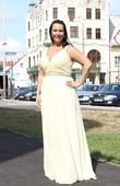 Dlouhé společenské plesové šaty žluté, 44