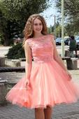 Krátké společenské plesové šaty meruňkové, 36