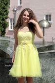 Krátké společenské plesové šaty žluté, 36