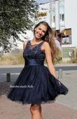 Krátké plesové šaty s krajkou modré, 38