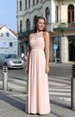 Dlouhé společenské plesové šaty pudrové - lososové, 38