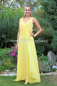 Dlouhé společenské plesové šaty žluté, 40