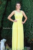 Dlouhé společenské plesové šaty žluté, 38