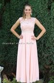 Dlouhé společenské plesové šaty pudrové - lososové, 36