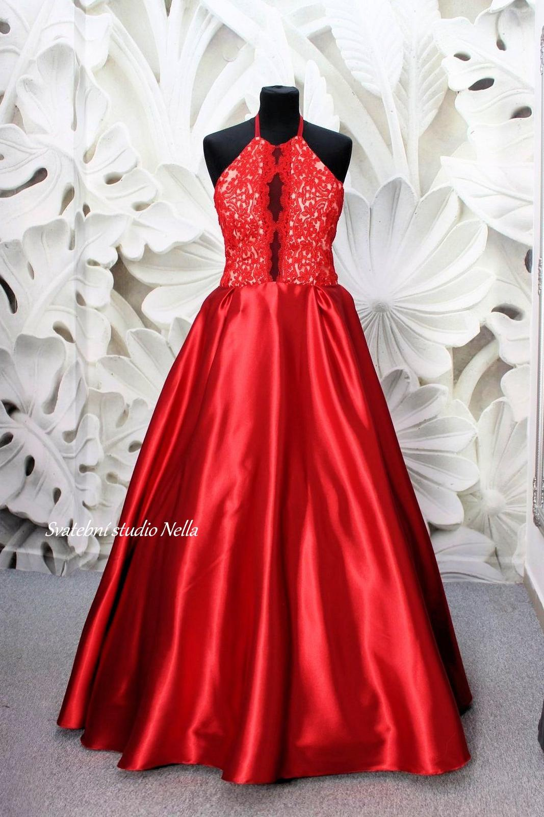 Plesové šaty červené - velikost 38/40 - Obrázek č. 1