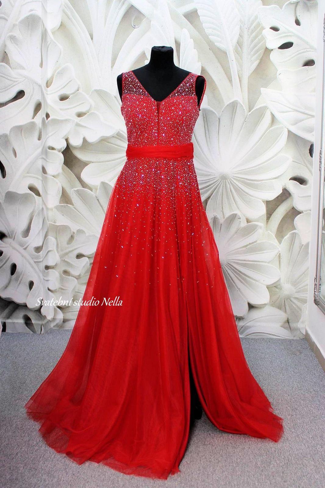 Plesové šaty červené - velikost 36 - Obrázek č. 2