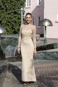 Plesové šaty béžové se zlatou - velikost 36, 36
