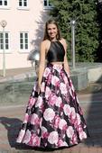 Plesové šaty květované crop top - velikost 34/36, 36