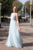 Plesové šaty modro-šedé - velikost 36, 36