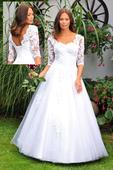 Svatební šaty s krajkovým rukávem vel.34, 34
