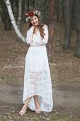 Boho svatební šaty krajkové s rukávem vel.36, 36