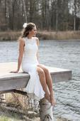 Boho svatební šaty krajkové vel.36 s rozparkem, 36