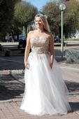 Svatební šaty se zlatou krajkou vel. 38, 38