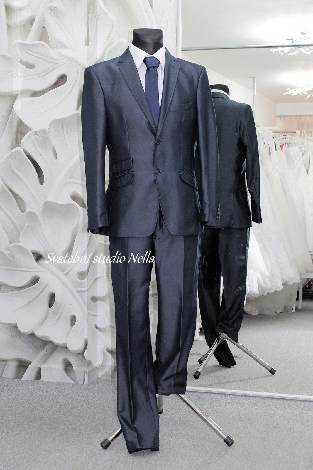 Pánský modrý oblek lesklý slim - Obrázek č. 3